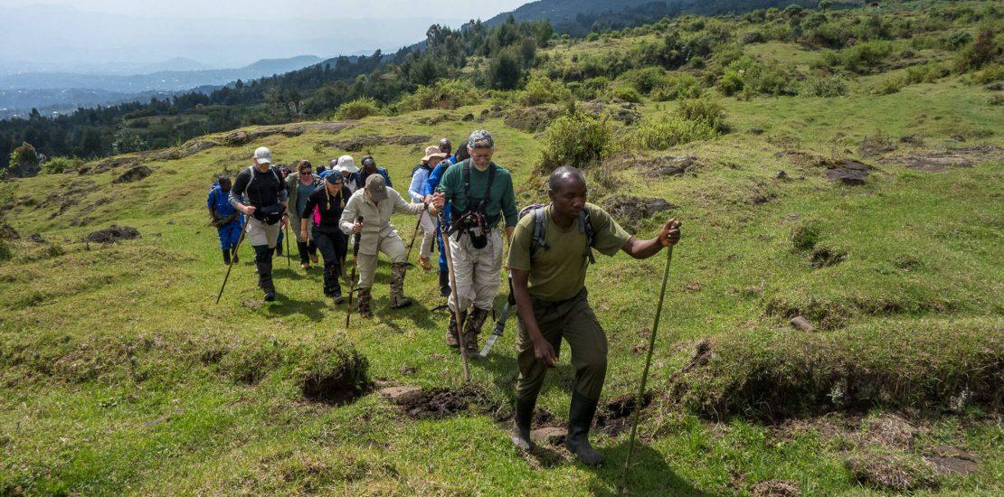 Hiking mountain Bisoke in Rwanda